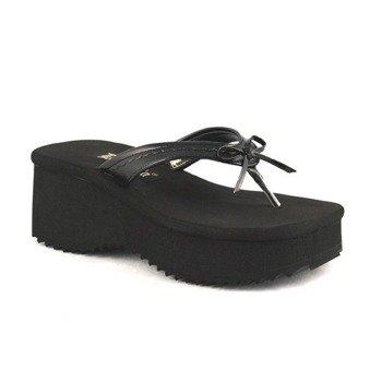 klapki damskie na platformie DEMONIA (FLIP-07) (Black /Pu)