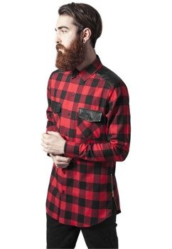 koszula SIDE-ZIP LEATHER SHOULDER FLANELL SHIRT blk/red