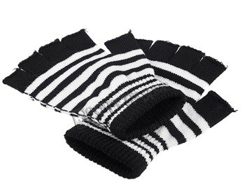 rękawiczki POIZEN INDUSTRIES - BLACK WHITE, bez palców