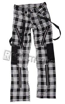 spodnie unisex PUNK PANTS TARTAN BLACK/WHITE