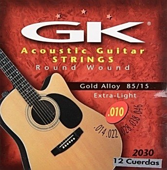 "struny do gitary akustycznej 12 str. MEDINA ARTIGAS ""GK"" Gold Alloy, Extra Light /010-046/"