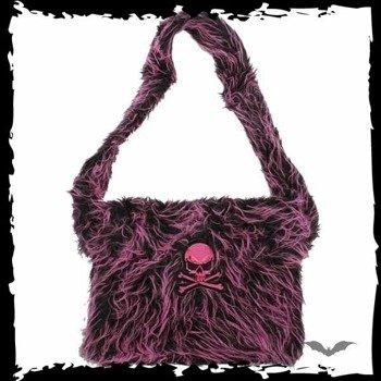 torba PINK/BLACK FUR BAG WITH PURPLE SKULL