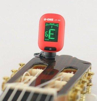 tuner / stroik gitarowy U-ONE uniwersalny, na klips CZERWONY