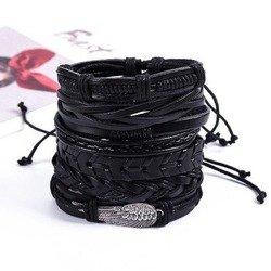 bransoletka BOHO BLACK , zestaw 6 bransoletek