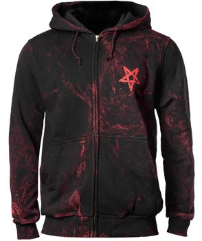 bluza AMENOMEN - PENTAGRAM (OMEN096CR ALLPRINT RED) rozpinana, z kapturem