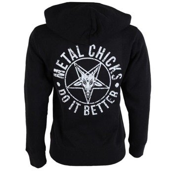 bluza damska METAL CHICKS DO IT BETTER - PENTAGRAM, rozpinana z kapturem