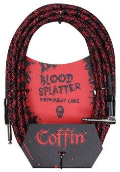 """kabel do gitary COFFIN """"BLOOD SPLATTER"""" CF-ICBS20R / jack kątowy/prosty / 6m"""