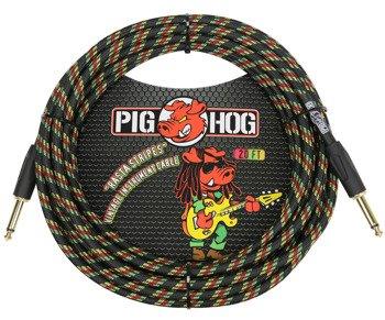 """kabel do gitary PIG HOG """"Rasta Stripes"""" jack prosty, 6m"""