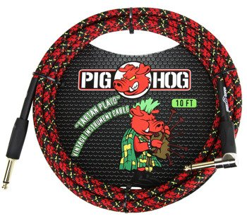 """kabel do gitary PIG HOG """"Tartan Plaid"""" jack kątowy-prosty, 3m"""