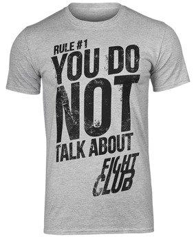 koszulka FIGHT CLUB - RULE #1 DON'T TALK ABOUT FIGHT CLUB szary melanż