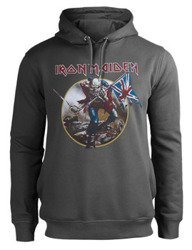 bluza IRON MAIDEN - TROOPER, kangurka z kapturem, szara