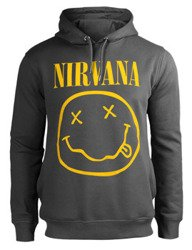 bluza NIRVANA - SMILEY, z kapturem, szara