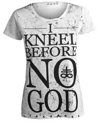 bluzka damska AMENOMEN - I KNEEL BEFORE NO GOD (OMEN108DA WHITE ALLPRINT BLACK)