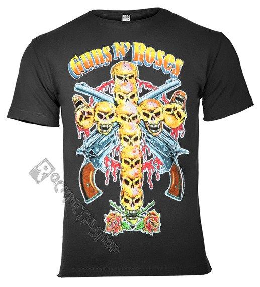 koszulka GUNS N' ROSES - NEON SKULL ciemnoszara